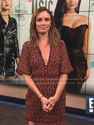 Catt's brown printed v-neck dress on E! News