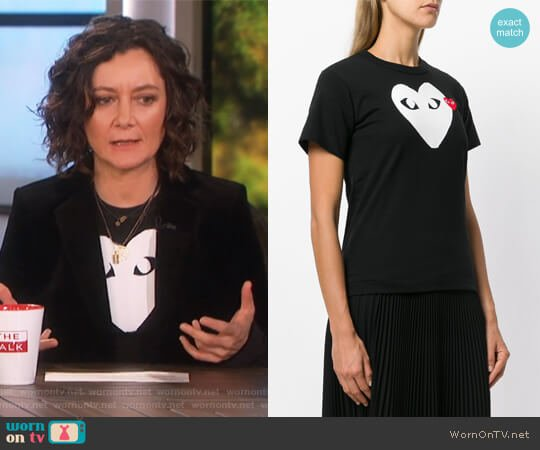 Logo Print T-Shirt by Comme Des Garcons PLAY worn by Sara Gilbert  on The Talk
