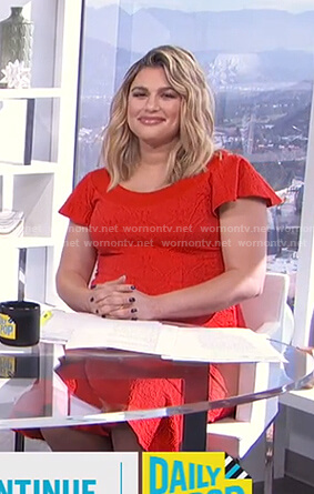 Carissa's red ruffle sleeve dress on E! News Daily Pop