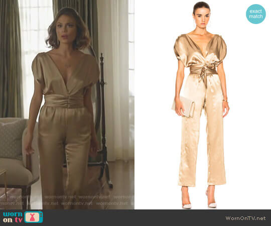'Luisa' Jumpsuit by Carolina Ritzle worn by Cristal Flores (Nathalie Kelley) on Dynasty