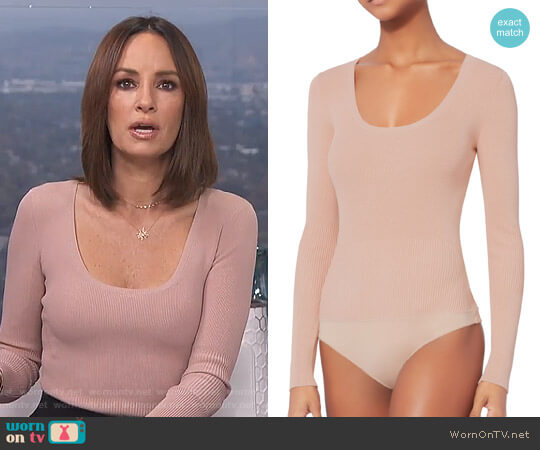 Caterina Lace-Up Grommet Bodysuit by Exclusive for Intermix worn by Catt Sadler  on E! News