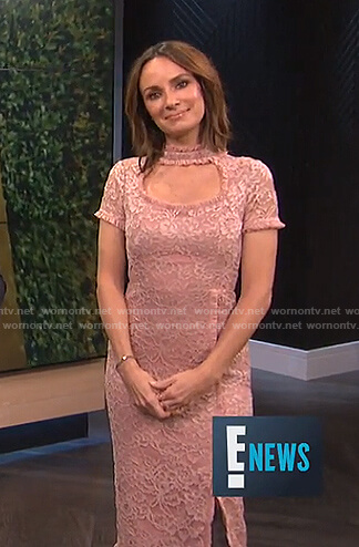 Catt's pink cutout lace dress on E! News