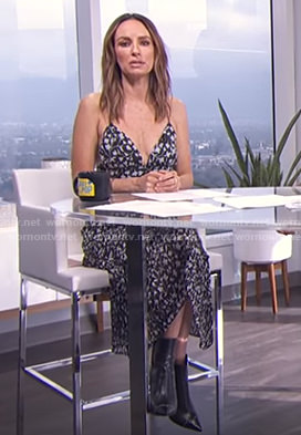 Catt's black floral tiered dress on E! News Daily Pop