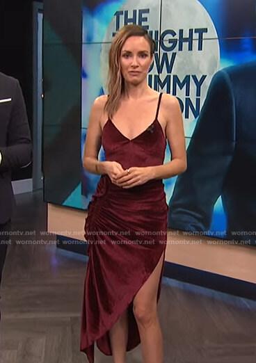 Catt's red velvet ruched dress on E! News