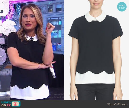 Colorblocked Scalloped Peter Pan-Collar Top by Cece worn by Ginger Zee on Good Morning America