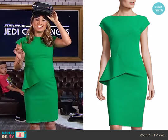 'Porzia' Peplum Sheath Dress by Chiara Boni La Petite Robe worn by Ginger Zee  on Good Morning America