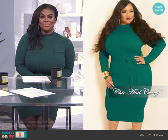 Rib Knitted Dress with Front Pockets by Chic and Curvy worn by Nina Parker (Nina Parker) on E! News