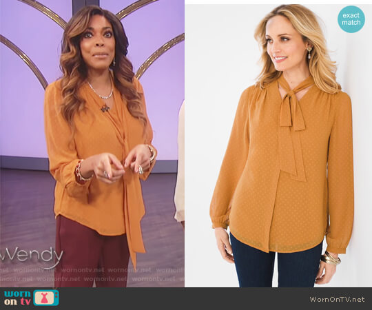 Jacquard Bow Top by Chicos worn by Wendy Williams on The Wendy Williams Show