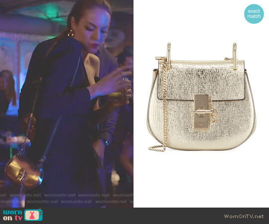 Drew Mini Metallic Leather Crossbody Bag by Chloe worn by Fallon Carrington (Elizabeth Gillies) on Dynasty