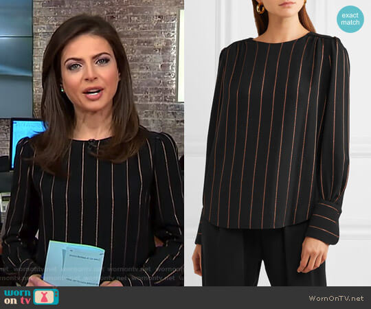 Metallic Striped Crepe Blouse by Chloe worn by Bianna Golodryga on CBS This Morning