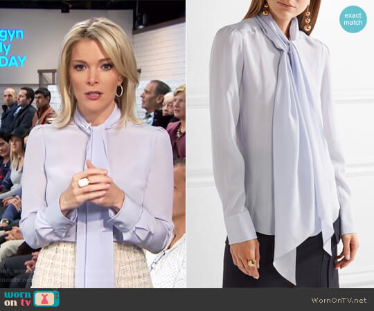 Pussy-bow silk crepe de chine blouse by Chloe worn by Megyn Kelly on Today