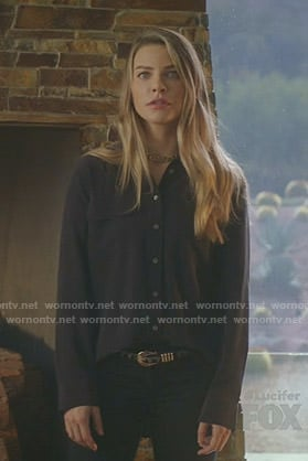 Chloe's black button down blouse on Lucifer