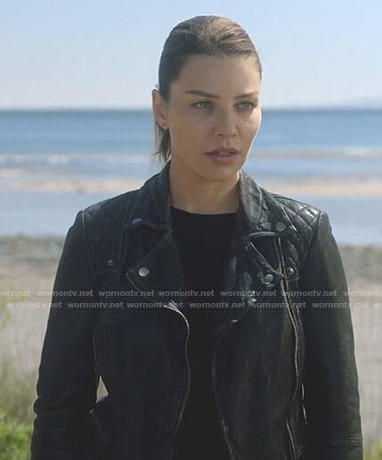 Chloe's black moto jacket on Lucifer
