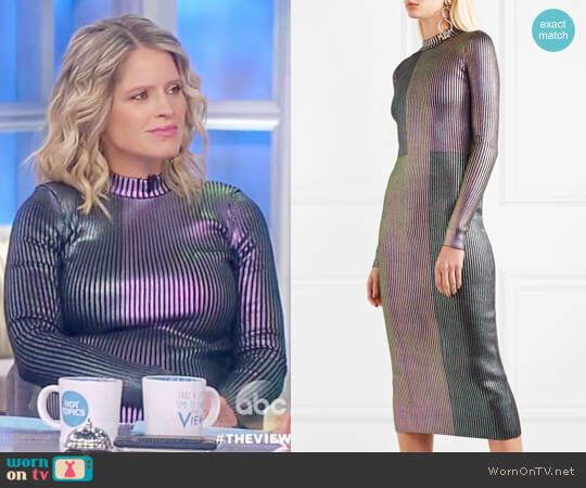 Metallic ribbed-knit midi dress by Christopher Kane worn by Sara Haines on The View