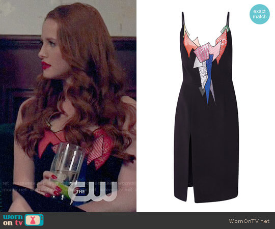 Christopher Kane Strappy Smash Motif Fitted Dress worn by Madelaine Petsch on Riverdale