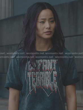Clarice's black enfant terrible t-shirt on The Gifted