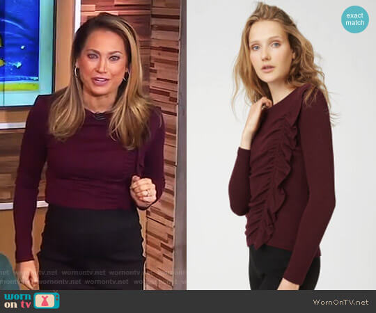 'Maisie' Top by Club Monaco worn by Ginger Zee on Good Morning America