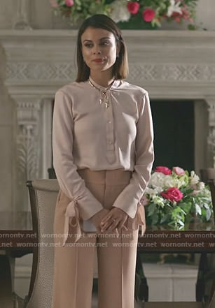 Cristal's pink bow sleeve blouse and wide-leg pants on Dynasty