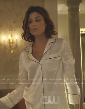 Cristal's white silk pajamas on Dynasty