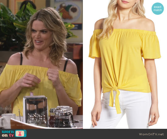 Kathie Off the Shoulder Top by Cupcakes and Cashmere worn by Natasha (Missi Pyle) on Mom