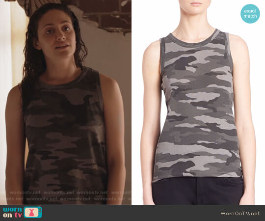 Sleeveless Camo Muscle Tee by Current Elliott worn by Fiona Gallagher (Emmy Rossum) on Shameless