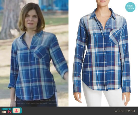The Boyfriend Plaid Shirt by Current Elliott worn by Heather Hughes (Betsy Brandt) on Life in Pieces