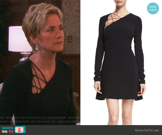 Lace-Up Long-Sleeve Fit-&-Flare Dress by Cushnie Et Ochs worn by Kassie DePaiva on Days of our Lives