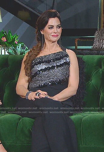 D'Andra's black embellished one-shoulder jumpsuit on The Real Housewives of Dallas