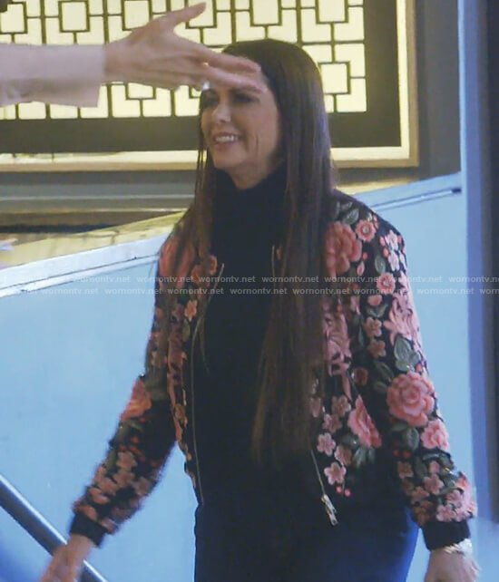 D'Andra's black floral bomber jacket on The Real Housewives of Dallas