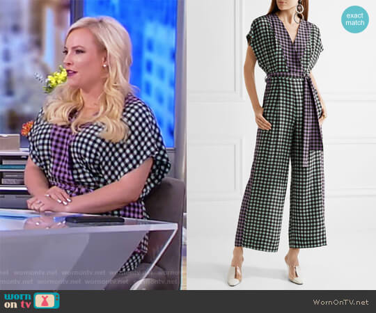 Gingham silk crepe de chine jumpsuit by Diane von Furstenberg worn by Meghan McCain on The View
