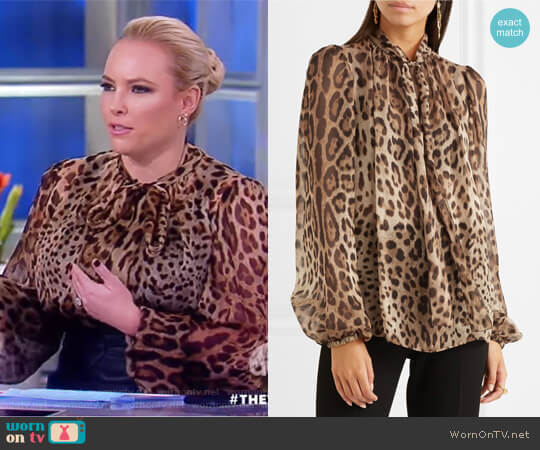 Pussy-bow leopard-print silk-chiffon blouse by Dolce & Gabbana worn by Meghan McCain  on The View