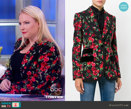 Grosgrain and velvet-trimmed floral-print crepe blazer by Dolce & Gabbana worn by Meghan McCain  on The View