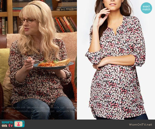 Daniel Rainn Maternity Floral-Print Split-Neck Tunic worn by Melissa Rauch on The Big Bang Theory