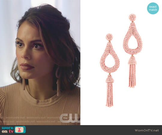 'Layla' Earrings by Deepa Gurnani worn by Nathalie Kelley on Dynasty