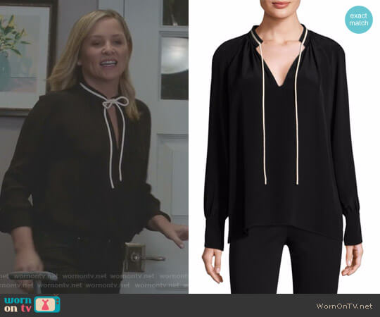 Long-Sleeve Tie-Neck Silk Blouse by Derek Lam worn by Jessica Capshaw on Greys Anatomy