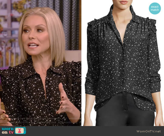Diamond-Print Ruffle Silk Blouse by Frame worn by Kelly Ripa  on Live with Kelly & Ryan