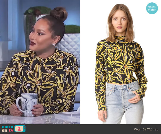 High Neck Blouse by Diane von Furstenberg worn by Adrienne Houghton on The Real