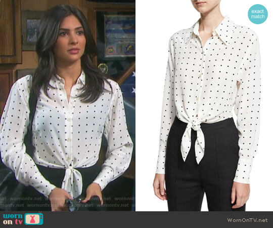Long-Sleeve Dotted Front-Tie Shirt by Diane von Furstenberg worn by Gabi Hernandez (Camila Banus) on Days of our Lives