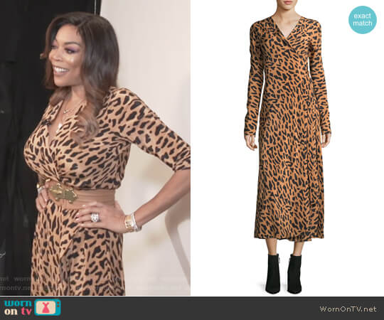 Long-Sleeve Midi Woven Silk Wrap Dress by Diane von Furstenberg worn by Wendy Williams on The Wendy Williams Show