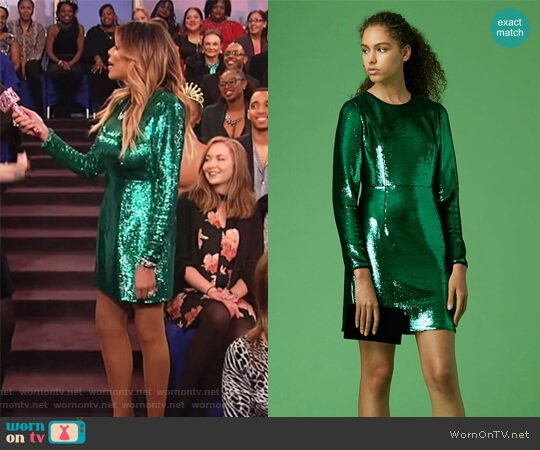 Long-Sleeve Tailored Sequin Mini Dress by Diane von Furstenberg worn by Wendy Williams on The Wendy Williams Show