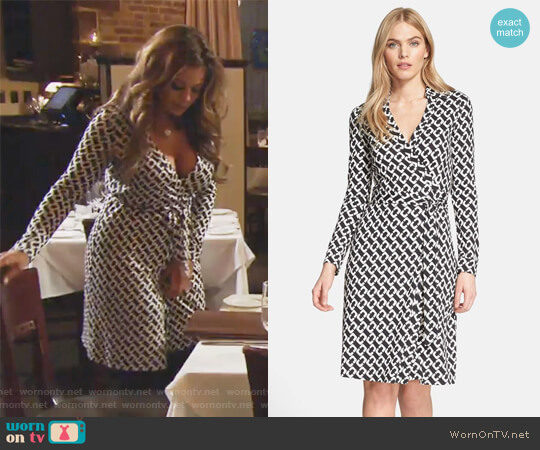 'New Jeanne Two' Print Silk Wrap Dress by Diane von Furstenberg worn by Dolores Catania on The Real Housewives of New Jersey
