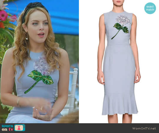 Hydrangea Embellished Flounce-Hem Dress by Dolce & Gabbana worn by Elizabeth Gillies on Dynasty