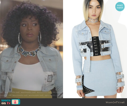 Replicant Clear Paneled Denim Jacket by Dolls Kill worn by Ta'Rhonda Jones on Empire