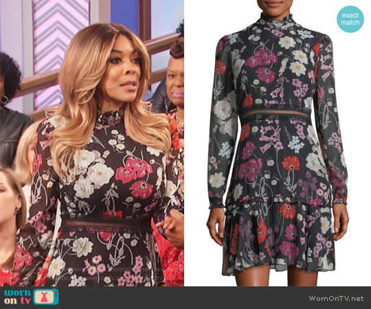 Floral Chiffon Mock-Neck Dress by Donna Morgan worn by Wendy Williams  on The Wendy Williams Show