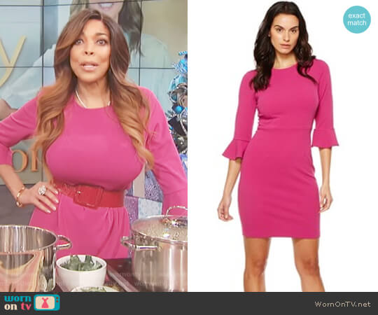 Fuchsia bell sleeve sheath dress by Donna Morgan worn by Wendy Williams on The Wendy Williams Show