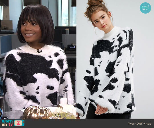 High Neck Jumper In Cow Print Fluffy Knit by E.L.K. worn by Zuri Hall  on E! News