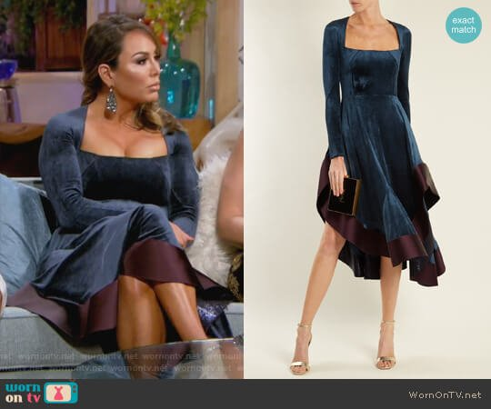 Square-neck stretch-velvet dress by Esteban Cortazar worn by Kelly Dodd  on The Real Housewives of Orange County