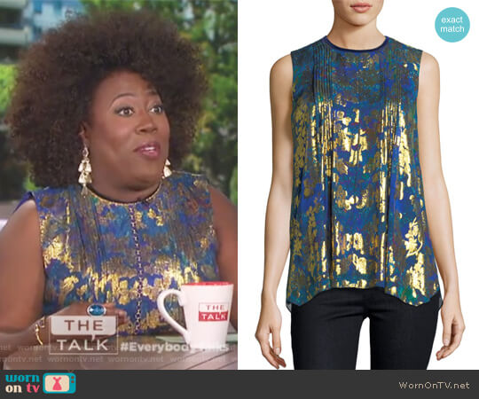 Elle Sleeveless Metallic Floral Blouse by Elie Tahari worn by Sheryl Underwood on The Talk