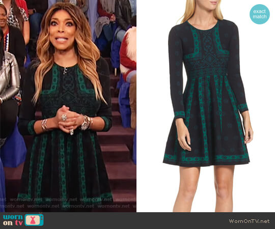 Wornontv Wendys Green Knit Pattern Flare Dress On The Wendy