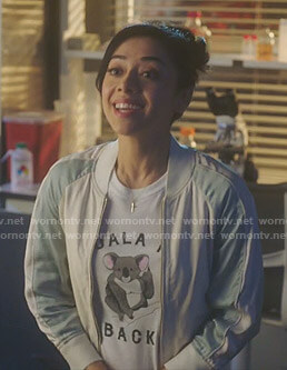 Ella's koala me back t-shirt and bomber jacket on Lucifer